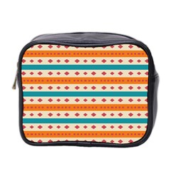 Rhombus And Stripes Pattern      Mini Toiletries Bag (two Sides) by LalyLauraFLM
