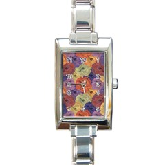 Vintage Floral Collage Pattern Rectangle Italian Charm Watch by dflcprints