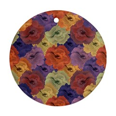 Vintage Floral Collage Pattern Ornament (round)  by dflcprints