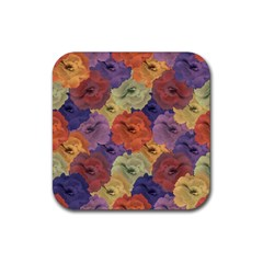 Vintage Floral Collage Pattern Rubber Coaster (square)  by dflcprints