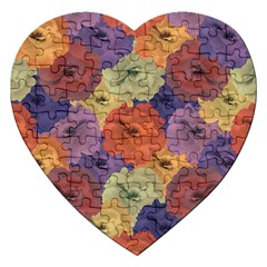 Vintage Floral Collage Pattern Jigsaw Puzzle (heart) by dflcprints
