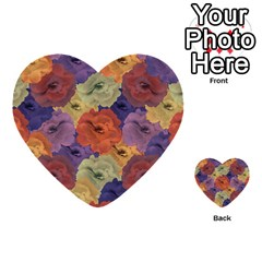 Vintage Floral Collage Pattern Multi Purpose Cards (heart)  by dflcprints