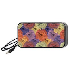 Vintage Floral Collage Pattern Portable Speaker (black)  by dflcprints