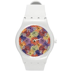 Vintage Floral Collage Pattern Round Plastic Sport Watch (m) by dflcprints