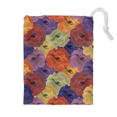 Vintage Floral Collage Pattern Drawstring Pouches (extra Large) by dflcprints