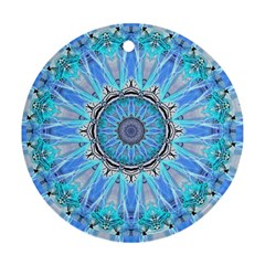 Sapphire Ice Flame, Light Bright Crystal Wheel Ornament (round)  by DianeClancy