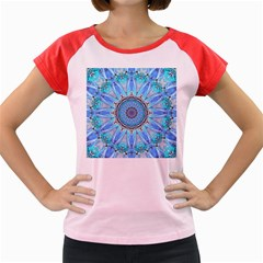 Sapphire Ice Flame, Light Bright Crystal Wheel Women s Cap Sleeve T Shirt by DianeClancy