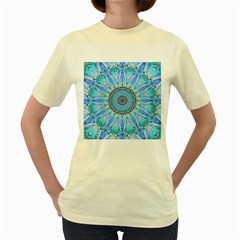 Sapphire Ice Flame, Light Bright Crystal Wheel Women s Yellow T Shirt by DianeClancy