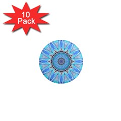 Sapphire Ice Flame, Light Bright Crystal Wheel 1  Mini Magnet (10 Pack)  by DianeClancy