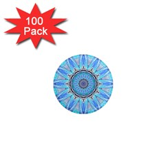 Sapphire Ice Flame, Light Bright Crystal Wheel 1  Mini Magnets (100 Pack)  by DianeClancy