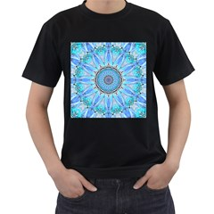 Sapphire Ice Flame, Light Bright Crystal Wheel Men s T Shirt (black) (two Sided) by DianeClancy