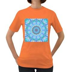 Sapphire Ice Flame, Light Bright Crystal Wheel Women s Dark T Shirt by DianeClancy