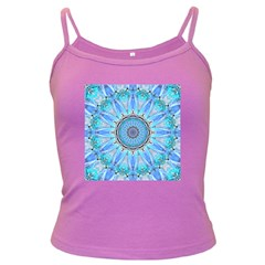 Sapphire Ice Flame, Light Bright Crystal Wheel Dark Spaghetti Tank by DianeClancy