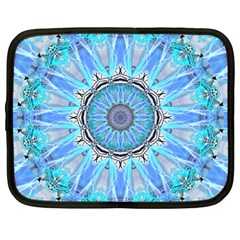 Sapphire Ice Flame, Light Bright Crystal Wheel Netbook Case (large) by DianeClancy