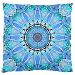 Sapphire Ice Flame, Light Bright Crystal Wheel Large Cushion Case (one Side) by DianeClancy