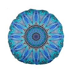 Sapphire Ice Flame, Light Bright Crystal Wheel Standard 15  Premium Round Cushions by DianeClancy