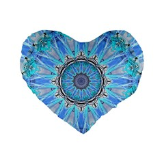 Sapphire Ice Flame, Light Bright Crystal Wheel Standard 16  Premium Heart Shape Cushions by DianeClancy