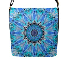 Sapphire Ice Flame, Light Bright Crystal Wheel Flap Messenger Bag (l)  by DianeClancy