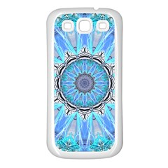 Sapphire Ice Flame, Light Bright Crystal Wheel Samsung Galaxy S3 Back Case (white) by DianeClancy