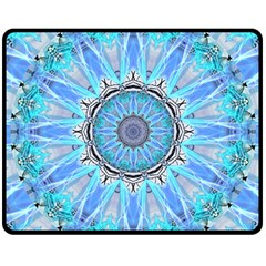 Sapphire Ice Flame, Light Bright Crystal Wheel Double Sided Fleece Blanket (medium)  by DianeClancy