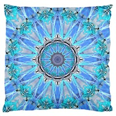 Sapphire Ice Flame, Light Bright Crystal Wheel Large Flano Cushion Case (two Sides) by DianeClancy