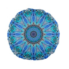 Sapphire Ice Flame, Light Bright Crystal Wheel Standard 15  Premium Flano Round Cushions by DianeClancy