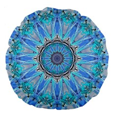 Sapphire Ice Flame, Light Bright Crystal Wheel Large 18  Premium Flano Round Cushions by DianeClancy