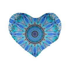 Sapphire Ice Flame, Light Bright Crystal Wheel Standard 16  Premium Flano Heart Shape Cushions by DianeClancy