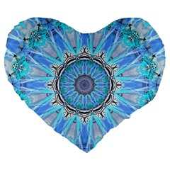 Sapphire Ice Flame, Light Bright Crystal Wheel Large 19  Premium Flano Heart Shape Cushions by DianeClancy