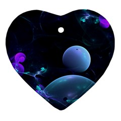 The Music Of My Goddess, Abstract Cyan Mystery Planet Ornament (heart)  by DianeClancy