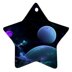 The Music Of My Goddess, Abstract Cyan Mystery Planet Ornament (star)  by DianeClancy