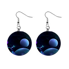 The Music Of My Goddess, Abstract Cyan Mystery Planet Mini Button Earrings by DianeClancy