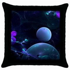 The Music Of My Goddess, Abstract Cyan Mystery Planet Throw Pillow Case (black) by DianeClancy