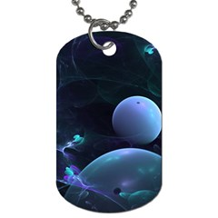 The Music Of My Goddess, Abstract Cyan Mystery Planet Dog Tag (one Side) by DianeClancy