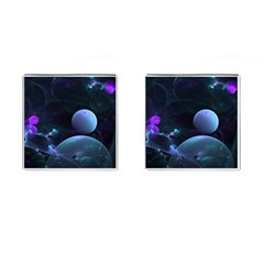The Music Of My Goddess, Abstract Cyan Mystery Planet Cufflinks (square) by DianeClancy