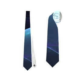 The Music Of My Goddess, Abstract Cyan Mystery Planet Neckties (one Side)  by DianeClancy