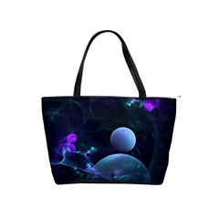 The Music Of My Goddess, Abstract Cyan Mystery Planet Shoulder Handbags by DianeClancy