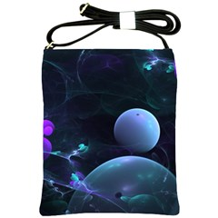 The Music Of My Goddess, Abstract Cyan Mystery Planet Shoulder Sling Bags by DianeClancy