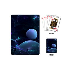The Music Of My Goddess, Abstract Cyan Mystery Planet Playing Cards (mini)  by DianeClancy
