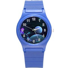 The Music Of My Goddess, Abstract Cyan Mystery Planet Round Plastic Sport Watch (s) by DianeClancy