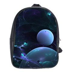 The Music Of My Goddess, Abstract Cyan Mystery Planet School Bags (xl)  by DianeClancy