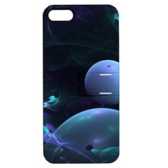 The Music Of My Goddess, Abstract Cyan Mystery Planet Apple Iphone 5 Hardshell Case With Stand by DianeClancy