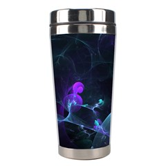 The Music Of My Goddess, Abstract Cyan Mystery Planet Stainless Steel Travel Tumblers by DianeClancy
