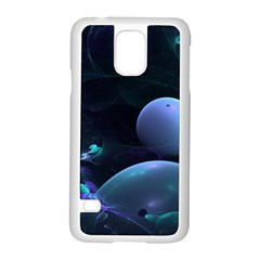 The Music Of My Goddess, Abstract Cyan Mystery Planet Samsung Galaxy S5 Case (white) by DianeClancy