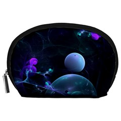 The Music Of My Goddess, Abstract Cyan Mystery Planet Accessory Pouches (large)  by DianeClancy