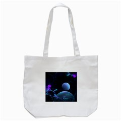 The Music Of My Goddess, Abstract Cyan Mystery Planet Tote Bag (white) by DianeClancy