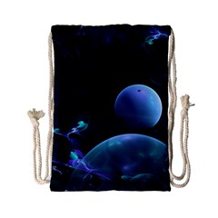 The Music Of My Goddess, Abstract Cyan Mystery Planet Drawstring Bag (small) by DianeClancy
