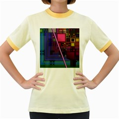 Jewel City, Radiant Rainbow Abstract Urban Women s Fitted Ringer T-Shirts by DianeClancy
