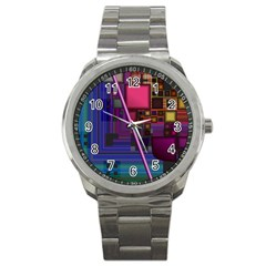 Jewel City, Radiant Rainbow Abstract Urban Sport Metal Watch by DianeClancy
