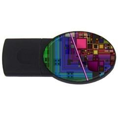 Jewel City, Radiant Rainbow Abstract Urban Usb Flash Drive Oval (4 Gb)  by DianeClancy